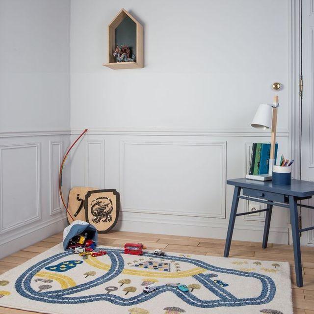 Art For Kids - Tapis Circuit Bleu rectangle chambre bebe garçon par - Couleur - Bleu, Taille - 100 x 150 cm