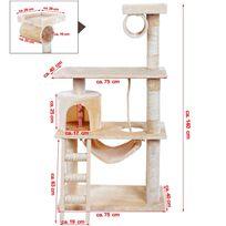 Rocambolesk - Superbe Arbre à chat griffoir niches avec échelle et balançoire 3 étages colonne renforcée 140 cm Pct63M neuf