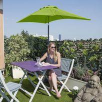 City Green - Parasol rectangulaire acier et polyester 180g avec manivelle 230x120cm - Vert anis