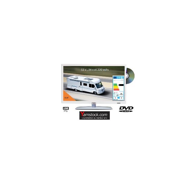 Antarion Télévision Tv Hd Led + Dvd 39,6 Cm Blanche 220v/12v/24v