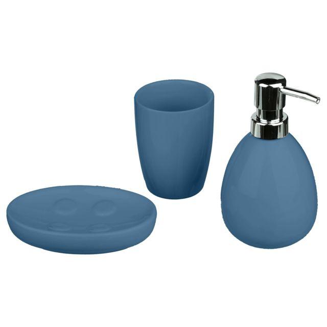 Coffret accessoires de salle de bain Sun - 3 Pièces - Bleu marine