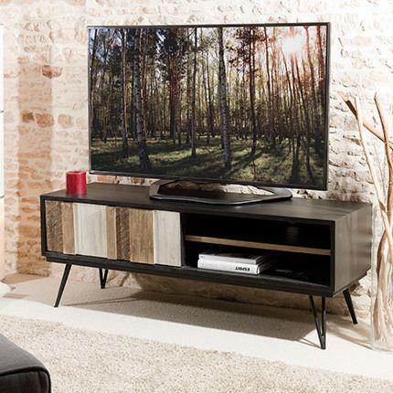 Meuble Tv 1 porte coulissante 2 niches Danube - bois naturel