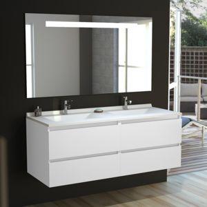 CREAZUR Meuble salle de bain double vasque ARLEQUIN 140x55 5