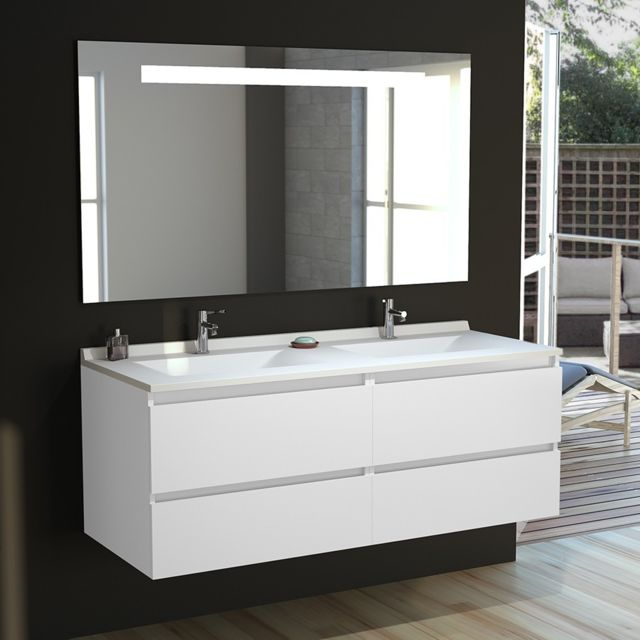attrayant CREAZUR - Meuble salle de bain double vasque ARLEQUIN 140x55 - 5 coloris au  choix - pas cher Achat / Vente Meubles de salle de bain - RueDuCommerce