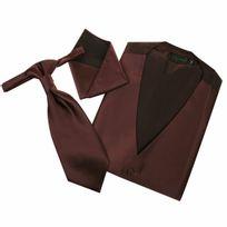 Touche Finale - Set de cérémonie: gilet, cravalière et pochette ton marron glacé