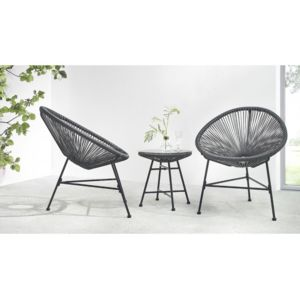 bobochic salon de jardin acapulco 2 fauteuils oeuf table basse gris pas cher achat vente. Black Bedroom Furniture Sets. Home Design Ideas