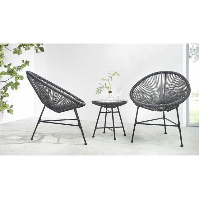 Bobochic - Salon de jardin Acapulco 2 fauteuils oeuf + table ...
