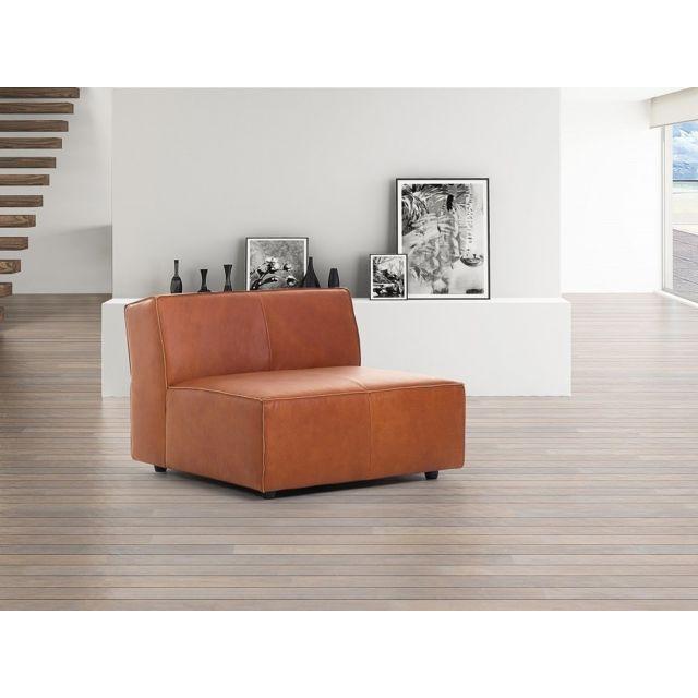 Beliani Fauteuil - canapé en cuir vintage cognac - sofa Adam