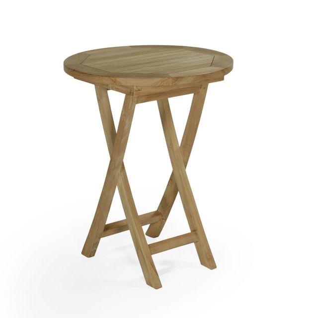 teck 39 attitude table pliante ronde en teck ecograde bistrot 60 cm pas cher achat vente. Black Bedroom Furniture Sets. Home Design Ideas