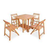 ALICE'S GARDEN - Salon de jardin en bois pliable Merida, table rectangle pliable 100x82cm avec 4 chaises pliantes
