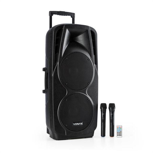 VONYX SPX-PA9210 Sono portable 2x10'' USB SD/MMC Bluetooth batterie 2 micros