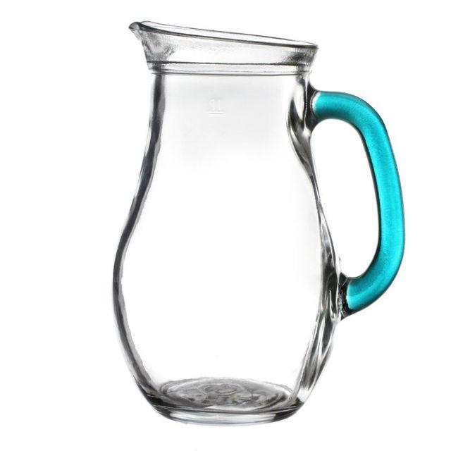 paris prix pichet d 39 eau anse bleue 1l transparent pas cher achat vente carafe. Black Bedroom Furniture Sets. Home Design Ideas