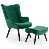 menzzo fauteuil scandinave pouf lylou velours vert - Fauteuil Et Pouf