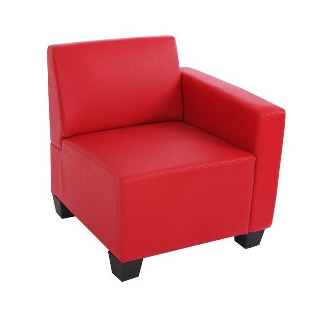 Mendler Canapé-élément Lyon, élément latéral droit, modulaire, simili-cuir, rouge