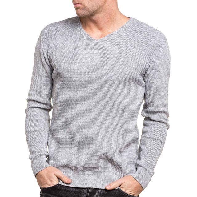 5dc6ac77072 BLZ Jeans - Pull col V homme gris clair - pas cher Achat   Vente ...