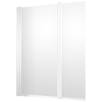 Pare-baignoire Komfort, paroi de baignoire avec 2 volets pivotants, 103,5x130 cm, verre transparent, profilé blanc