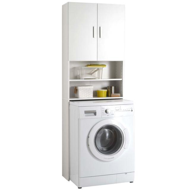 Fmd Meuble Pour Machine A Laver Avec Espace De Rangement Blanc Achat Lave Linge