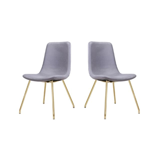La Maison Du CanapÉ Chaise Design Jazz - Gris/Gold - Lot de 2