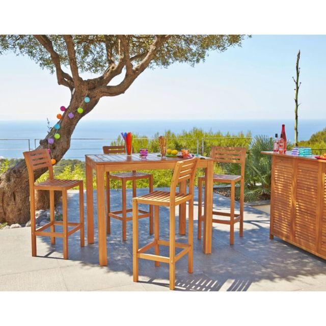 CARREFOUR - Table de bar haute pour jardin rectangulaire ...