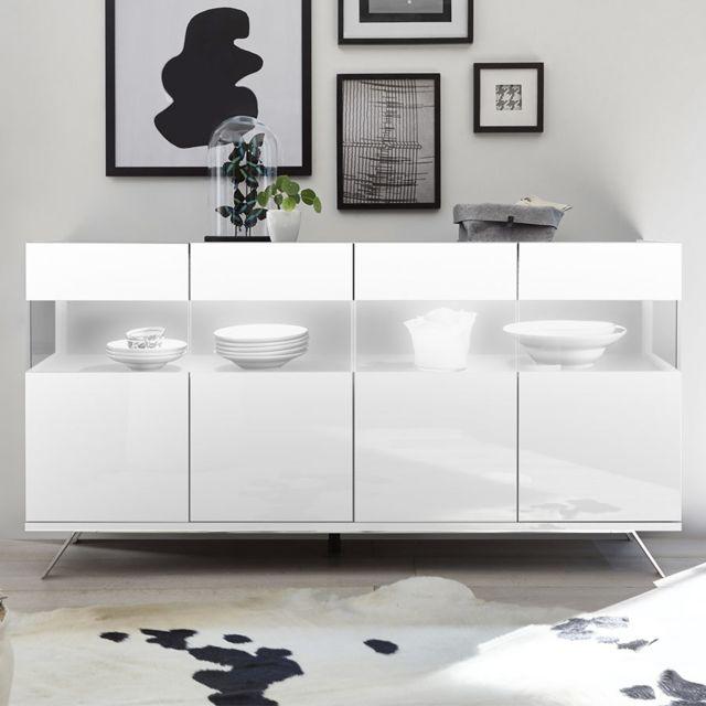 Kasalinea Buffet 4 portes Led design blanc laqué Palermo 2