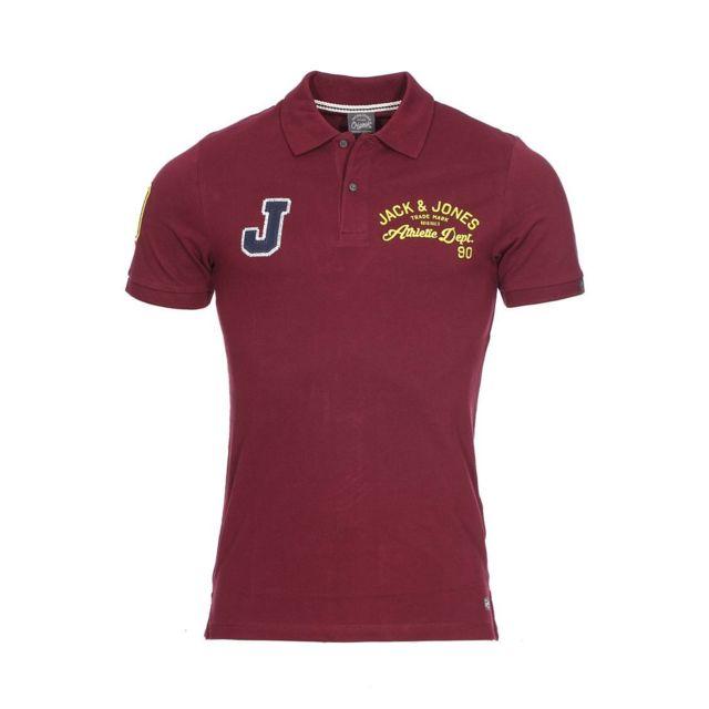 Jack JONES - Polo cintré Jack   Jones en coton bordeaux floqué en ... c3e12d824b6d