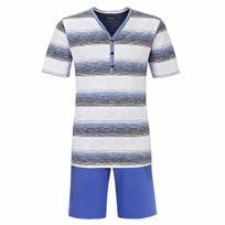 Ringella - Pyjama court : Tee-shirt col tunisien blanc à fines rayures et short uni bleu cyan