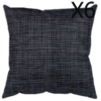 Pegane - Lot de 6 Coussins d'extérieur Déco Noir chiné - Dim : L. 40 x l. 40 x H. 6 cm