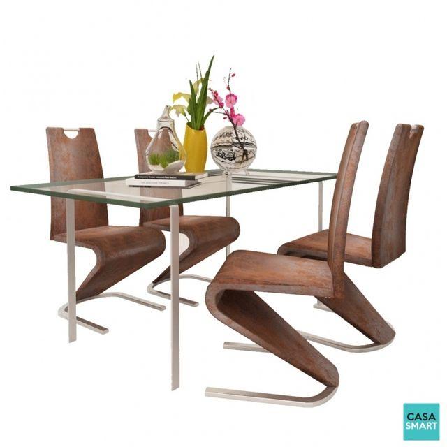 Casasmart Lot de 4 chaises moderne Stamos en simili cuir marron