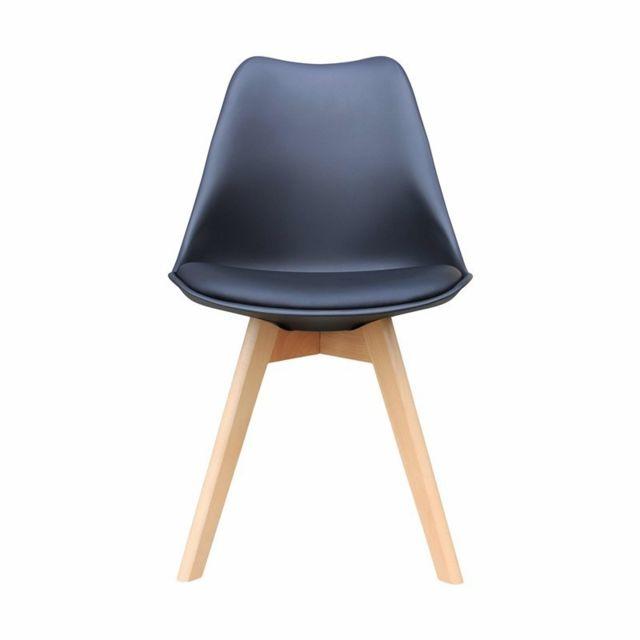 Zoli99 Liyah Lot de 2 Chaise avec pieds en bois Noir pas