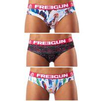 Freegun - Lot de 3 boxers femme Plumes