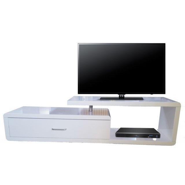 Beaux Meubles Pas Chers Meuble Tv Laqué Blanc 1 Tiroir