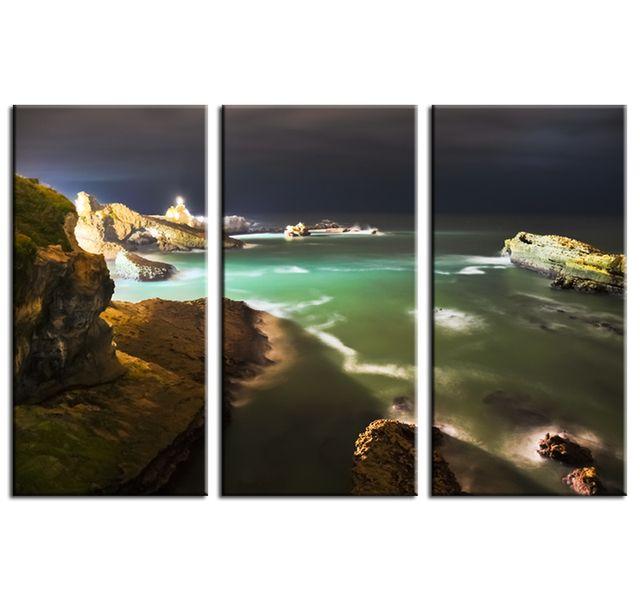 Hexoa Tableau contemporain biarritz de nuit 3p Fabrication française
