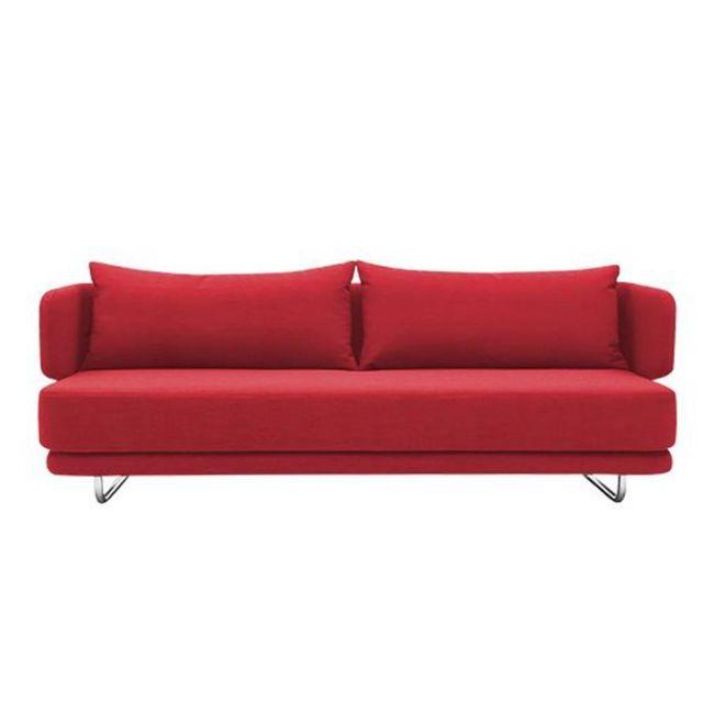 Inside 75 Canapé lit design Jasper en vinyl rouge couchage 70/140 200cm