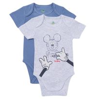 DISNEY - Lot de 2 bodies bébé MICKEY en coton manches courtes