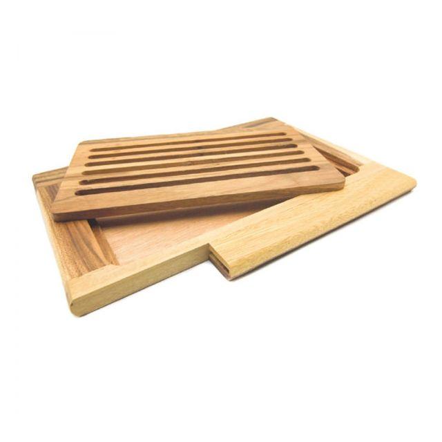 az boutique - planche à pain ramasse miettes 38x26cm en bois