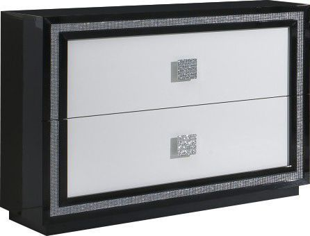 Comforium Commode blanc et noir laqué à 2 grands tiroirs avec décor strass