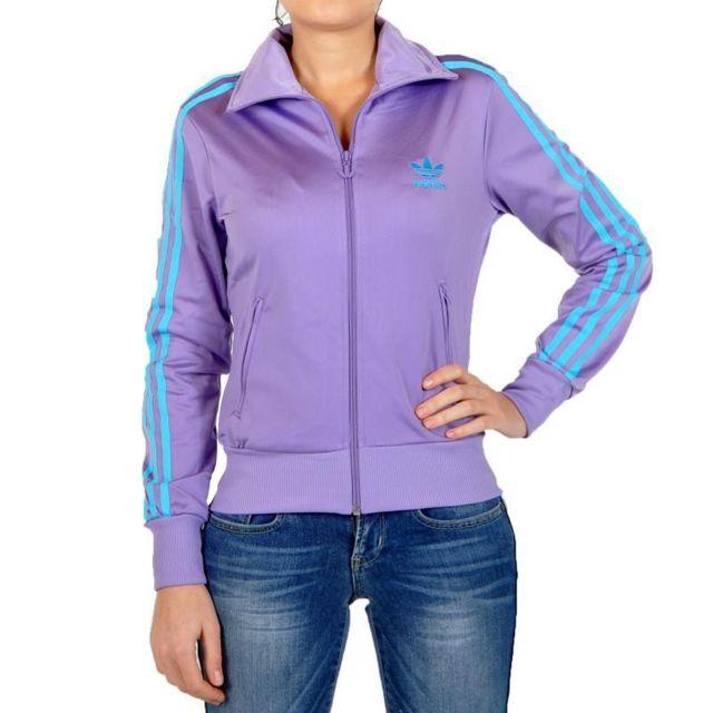 0701d8d14bf9e Adidas - Veste Firebird Violet   Bleu Turquoise Femme - pas cher Achat   Vente  Blouson femme - RueDuCommerce