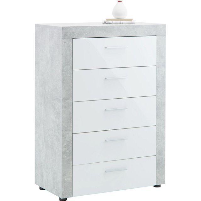 Comforium Commode moderne 74 cm avec 5 tiroirs coloris blanc et gris béton