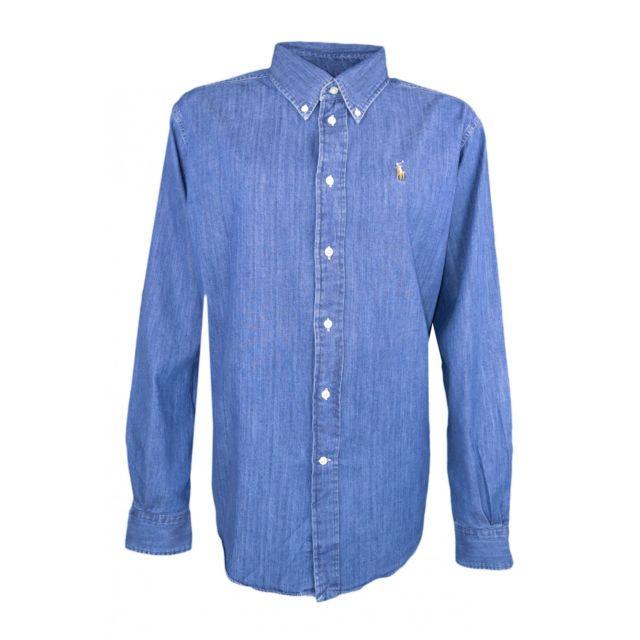 e8158379b62bcc Ralph Lauren - Chemise large bleu en jean pour femme - pas cher Achat    Vente Chemise femme - RueDuCommerce