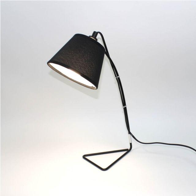 Lampe De Chevet Noire Metal Et Tissu Rebecca