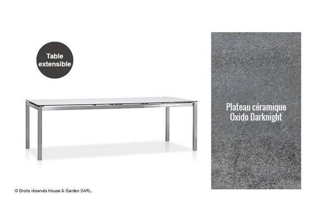 Todus - Table De Jardin Extensible Inox Et Plateau CÉRAMIQUE Ou Hpl ...