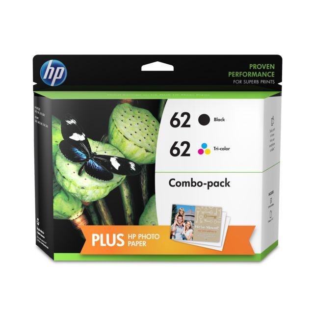 HP N9J71AE - Pack de 2 Cartouches d'encre 62 Noir et 3 couleurs