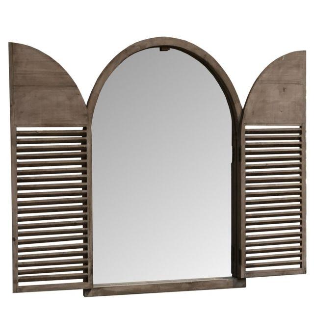 L'ORIGINALE Deco Grand Miroir de Campagne Fenêtre à Volet Industriel Bois 104.50 cm x 84 cm