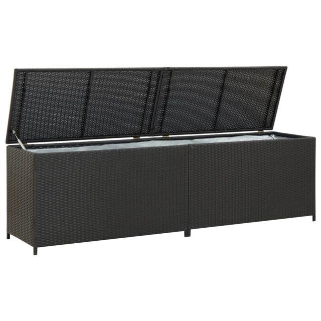Vidaxl Boîte de Rangement de Jardin Résine Tressée 200x50x60 cm Noir Coffre