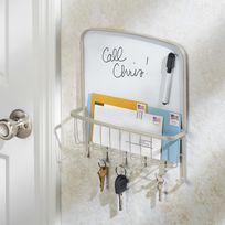 Interdesign - Porte clés mural 6 accroches + tableau mémo velleda 32.5x7x30.5cm York Lyra