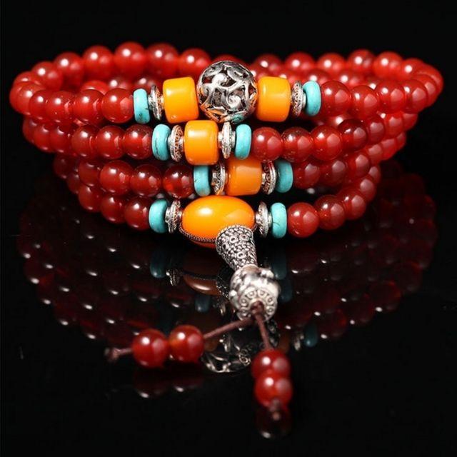 Wewoo - Bracelet rouge de perles de grenat Accessoire de bijoux de mode  agate et tête 57fb8a1e8f4