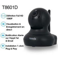 TENVIS - T8601D Caméra de surveillance intérieur Full HD IP Wifi sans fil - 1080P 1920x1080 H.264 - Alerte téléphone - Vision Nocturne - Son bidirectionnel - Motorisé - Appli téléphone & Notice en français