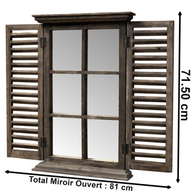 Chemin De Campagne Miroir Fenêtre Volet en Bois 71.50 cm x 47 cm