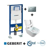 Geberit - Pack Up320 + Cuvette sans bride Tonic Ii Aquablade + Sigma Chr mate
