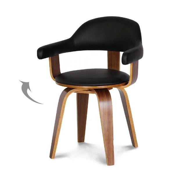 DECLIKDECO Chaise noire en simili cuir Sweden